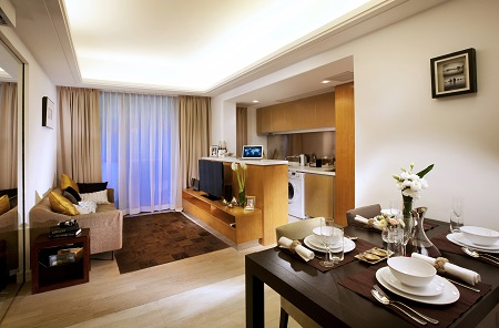 GARDENEast Serviced Apartments situated at the heart of Wanchai in Hong Kong represents an oasis of the city, a verdant getaway. The apartment consists of 216 luxurious units in 28 storeys, each unit