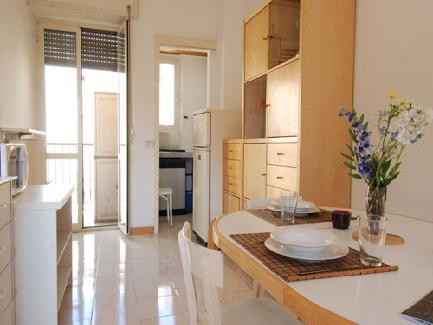This bright two bedroom apartment, sleeping up to 6 people, is located on the fifth floor of a modern building with elevator in Viale Zara.